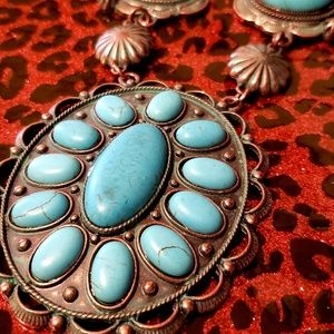 Jewelry - Turquoise howlite copper patina necklace earrings